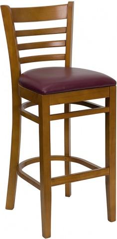 Hercules Cherry Finished Ladder Back Wooden Restaurant Bar Stool - Burgundy Vinyl Seat