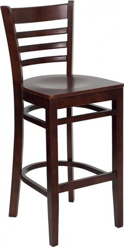 Hercules Mahogany Finished Ladder Back Wooden Restaurant Bar Stool