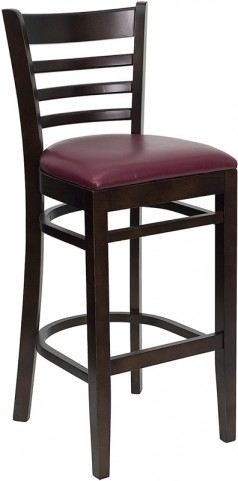 Hercules Walnut Finished Ladder Back Wooden Restaurant Bar Stool - Burgundy Vinyl Seat
