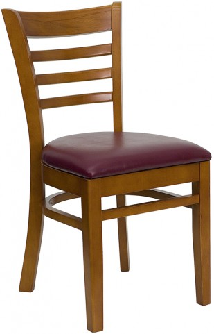 Hercules Cherry Finished Ladder Back Wooden Restaurant Chair - Burgundy Vinyl Seat