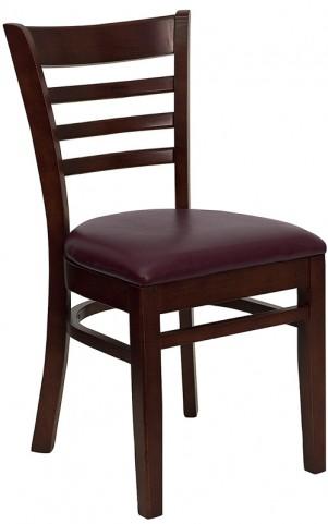 Hercules Mahogany Finished Ladder Back Wooden Restaurant Chair - Burgundy Vinyl Seat