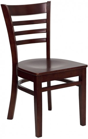 6585 Hercules Mahogany Finished Ladder Back Wooden Restaurant Chair