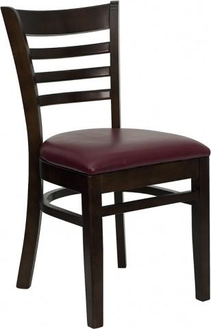 Hercules Walnut Finished Ladder Back Wooden Restaurant Chair - Burgundy Vinyl Seat