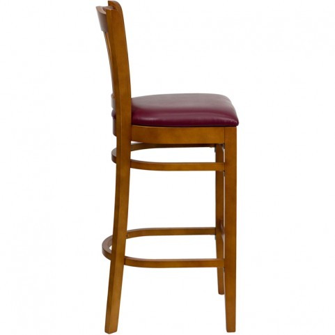 Hercules Cherry Finished Vertical Slat Back Wooden Restaurant Bar Stool - Burgundy Vinyl Seat