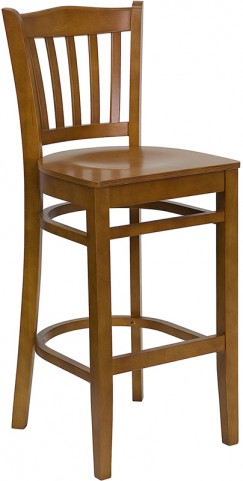 Hercules Cherry Vertical Slat Back Wooden Restaurant Bar Stool