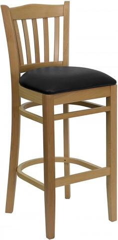 Hercules Natural Wood Finished Vertical Slat Back Wooden Restaurant Bar Stool - Black Vinyl Seat