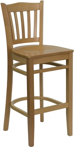 Hercules Natural Wood Vertical Slat Back Wooden Restaurant Bar Stool