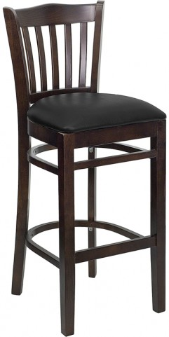Hercules Walnut Finished Vertical Slat Back Wooden Restaurant Bar Stool - Black Vinyl Seat