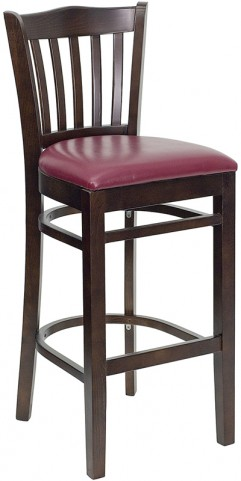 Hercules Walnut Finished Vertical Slat Back Wooden Restaurant Bar Stool - Burgundy Vinyl Seat