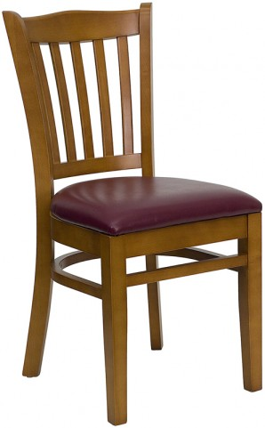 Hercules Cherry Finished Vertical Slat Back Wooden Restaurant Chair - Burgundy Vinyl Seat