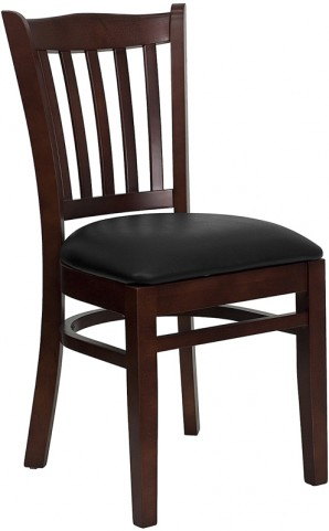 Hercules Mahogany Finished Vertical Slat Back Wooden Restaurant Chair - Black Vinyl Seat