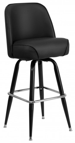 Black Metal Bar Stool with Swivel Bucket Seat