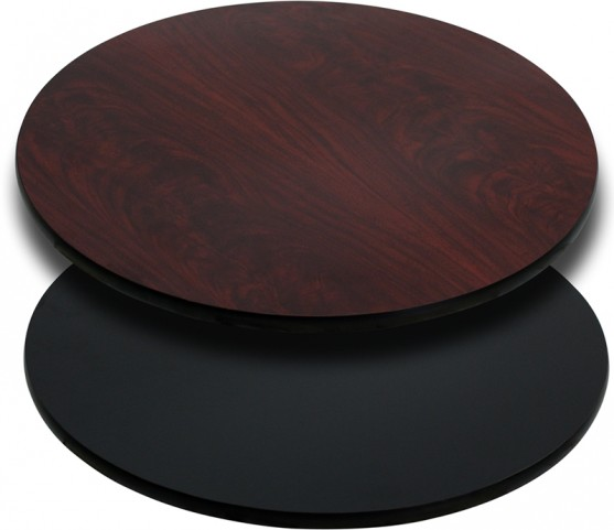 36'' Round Table Top with Black or Mahogany Reversible Laminate Top