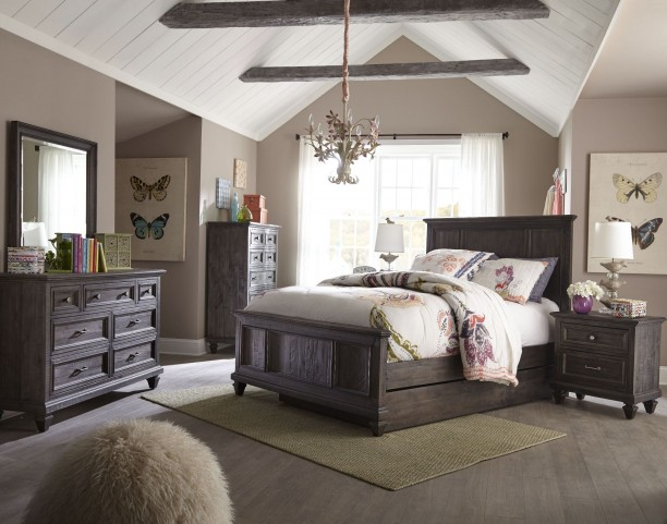 Calistoga Weathered Charcoal Youth Trundle Panel Bedroom Set