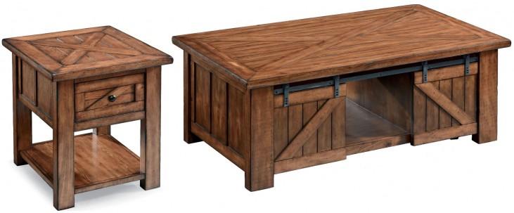 Harper Farm Warm Pine Rectangular Occasional Table Set