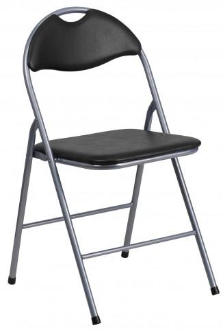 Hercules Series Black Vinyl Metal Carrying Handle Folding Chair