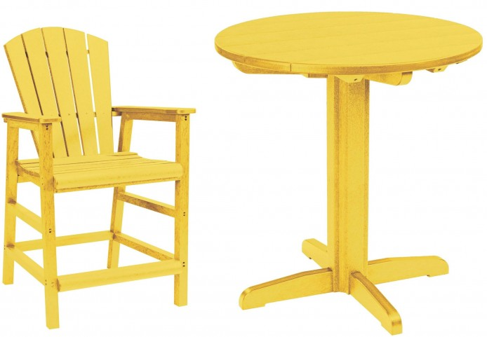 "Generations Yellow 32"" Round Pedestal Pub Set"