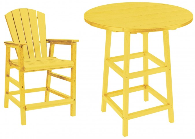 "Generations Yellow 32"" Round Leg Pub Set"