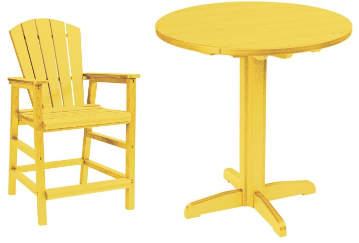 "Generations Yellow 37"" Round Pedestal Pub Set"