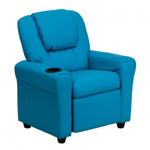 Turquoise Vinyl Kids Recliner with Cup Holder and Headrest