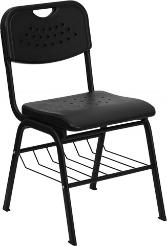 Hercules Series Black Plastic Chair with Black Powder Coated Frame