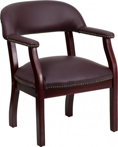 Burgundy Leather Conference Chair