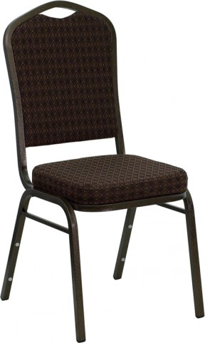 Hercules Series Crown Back Stacking Brown Fabric Banquet Chair