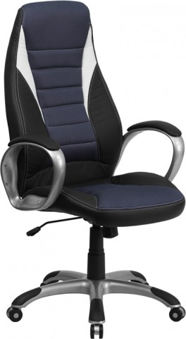 High Back Black Vinyl Executive Blue Mesh Office Chair