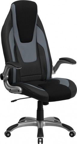 High Back Black & Gray Vinyl Executive Flip Up Arm Office Chair