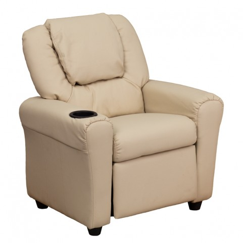 Beige Vinyl Kids Recliner with Cup Holder and Headrest