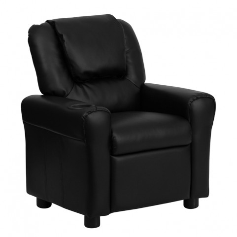Black Leather Kids Recliner with Cup Holder and Headrest