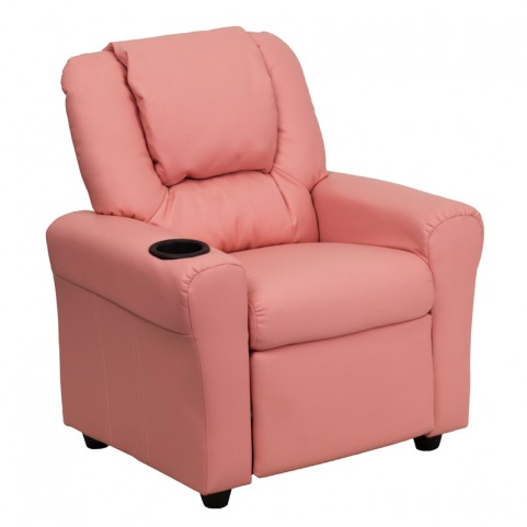 Pink Vinyl Kids Recliner with Cup Holder and Headrest