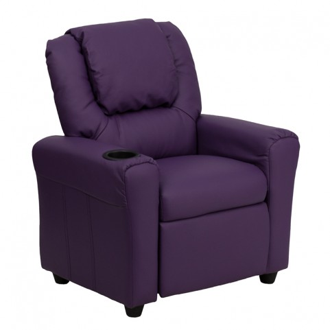 Purple Vinyl Kids Recliner with Cup Holder and Headrest