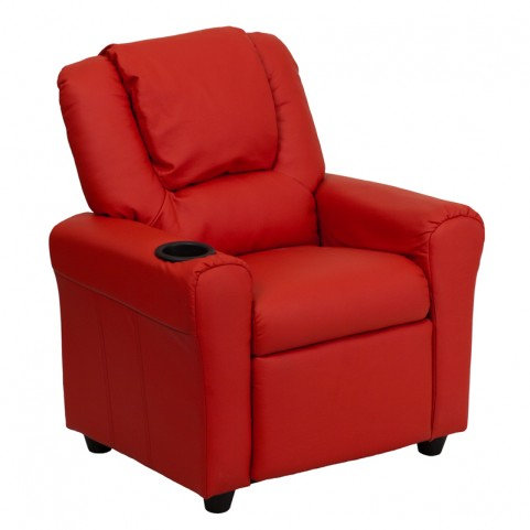 Red Vinyl Kids Recliner with Cup Holder and Headrest