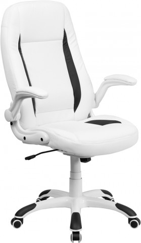 High Back White Leather Executive Flip-Up Arm Office Chair