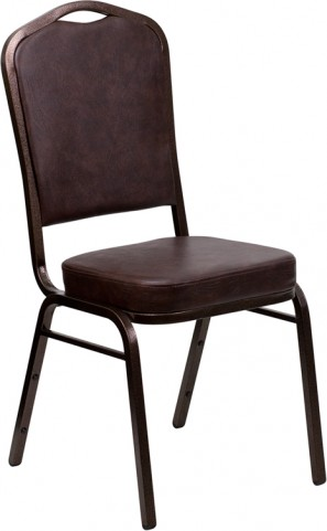 Hercules Series Crown Back Stacking Brown Vinyl Banquet Chair