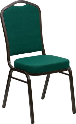 Hercules Series Crown Back Stacking Green Fabric Banquet Chair