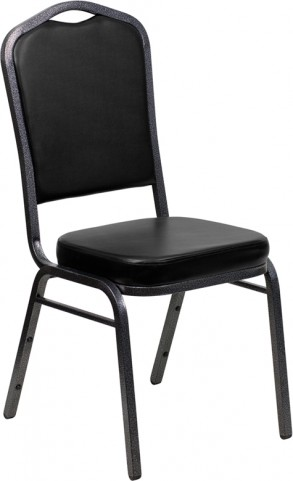 Hercules Series Crown Back Black & Silver Vinyl Banquet Chair