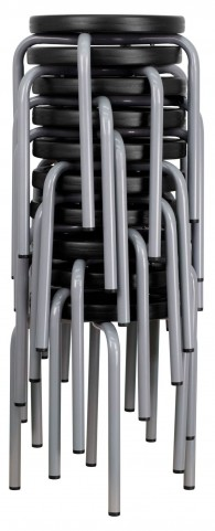 Stackable Black Stool Silver Powder Coated Frame
