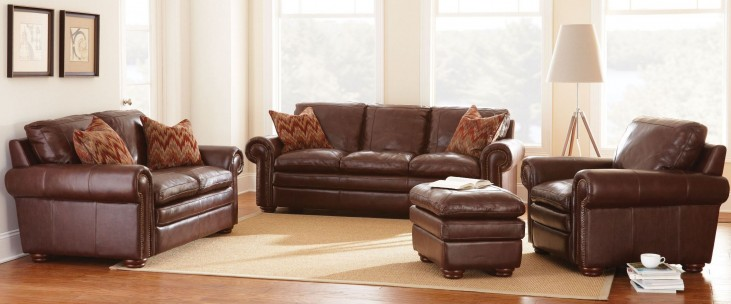 Yosemite Chestnut Leather Living Room Set