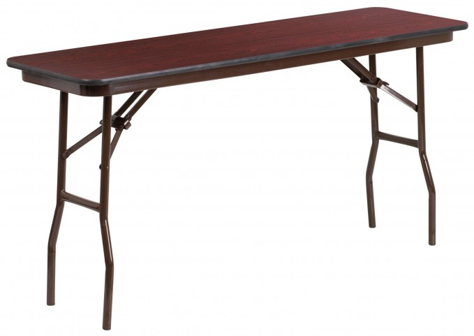 "60"" Rectangular Walnut Melamine Laminate Folding Training Table"