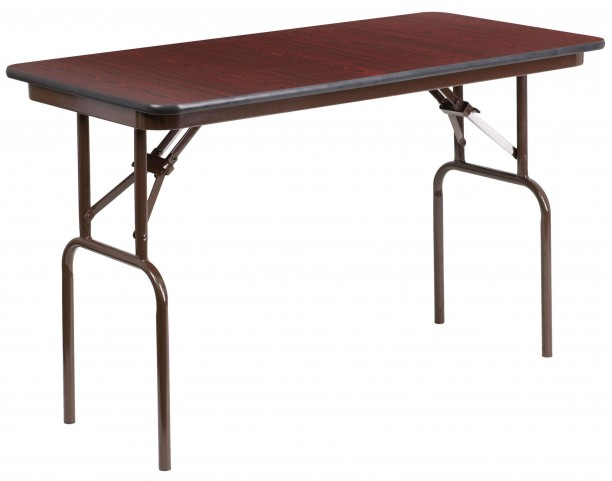 "48"" Rectangular Walnut Melamine Laminate Folding Banquet Table"