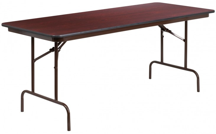 "30""W Rectangular Walnut Melamine Laminate Folding Banquet Table"