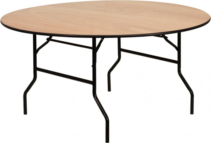 60'' Round Wood Folding Banquet Table with Unfinished Top