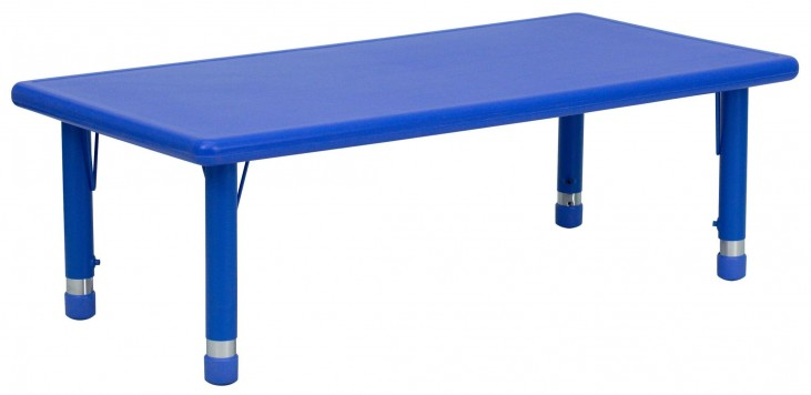 48'' Adjustable Height Rectangular Blue Plastic Activity Table