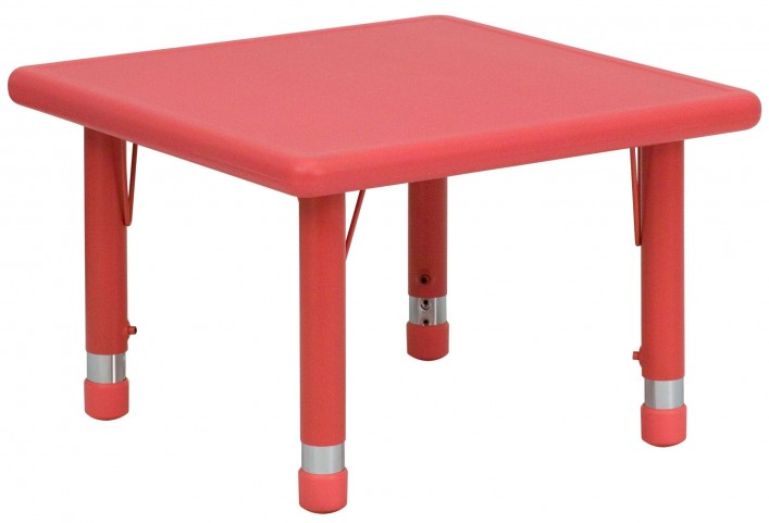 "24"" Square Height Adjustable Red Plastic Activity Table"