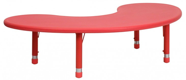 Adjustable Height Half-Moon Red Plastic Activity Table