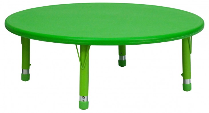 "45"" Round Height Adjustable Green Plastic Activity Table"