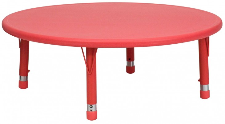 "45"" Round Height Adjustable Red Plastic Activity Table"