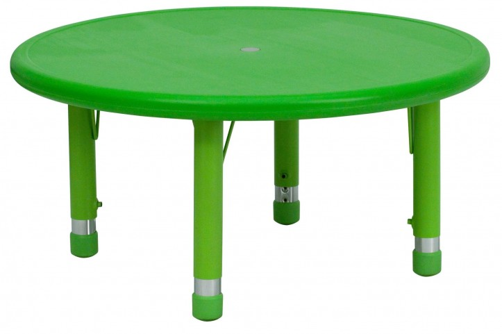 "33"" Round Height Adjustable Green Plastic Activity Table"
